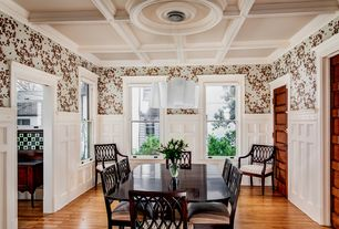 Craftsman Dining Room with Chandelier, Hardwood floors, Wainscotting, Chair rail, Box ceiling, Crown molding