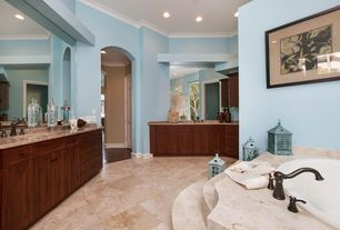 Traditional Master Bathroom with Complex Marble, Undermount sink, MS International Rosewood Granite, Crown molding, Flush