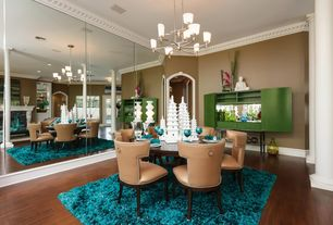 Eclectic Dining Room with mirrored walls, High ceiling, Engineered bamboo flooring, Columns, Laminate floors, Chandelier