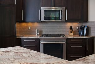 Contemporary Kitchen with Flat panel cabinets, Standard height, One-wall, Flush, Kitchen island, Complex granite counters
