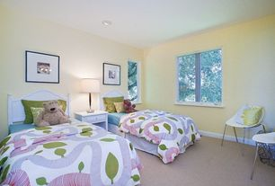 Modern Kids Bedroom with Carpet, High ceiling, Pottery barn kids catalina bed, Pottery barn kids juliette nightstand