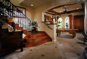 Tropical Entryway with Custom Iron Works 40-502 Solid Baluster, Paint, Ms international - tuscany walnut onyx travertine