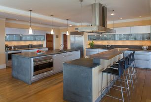 Contemporary Kitchen with Kitchen island, Built In Refrigerator, Undermount sink, Concrete counters, electric cooktop, Flush