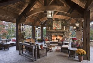 Rustic Patio with Outdoor furniture, Wall sconce, Fireplace, exterior concrete tile floors, Gazebo, Chandelier, Console table