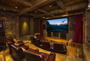 Rustic Home Theater with Wall sconce, Standard height, quartz floors, can lights, Box ceiling