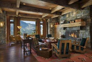 Eclectic Living Room with flush light, stone fireplace, Built-in bookshelf, Box ceiling, Wall sconce, Hardwood floors