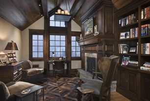 Country Home Office with picture window, can lights, flush light, High ceiling, stone fireplace, Exposed beam, Fireplace