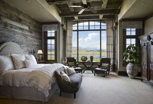 Country Master Bedroom with The shade store custom pleated roman shade, Carpet, High ceiling, Exposed beam, Ceiling fan