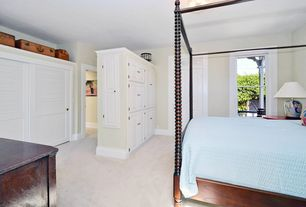 Cottage Master Bedroom with Carpet, Transom window, flush light, specialty door, Built-in bookshelf
