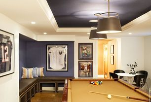 Contemporary Game Room with flush light, Standard height, quartz floors, can lights, flat door