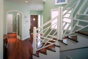 Modern Staircase with Hardwood floors, French doors