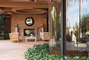 Contemporary Patio with exterior stone floors, picture window