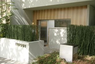 Contemporary Front Door with French doors, exterior concrete tile floors, Fence, exterior tile floors, Pathway