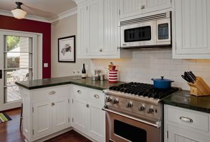 Cottage Kitchen with Wilmette Tavern 1 Light Schoolhouse Pendant, One-wall, French doors, Subway Tile, flush light