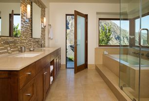 Contemporary Master Bathroom with stone tile floors, French doors, Simple marble counters, Shower, Master bathroom, Bathtub