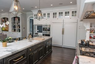Traditional Kitchen with Custom hood, Pendant light, Flush, L-shaped, Hardwood floors, Undermount sink, Kitchen island