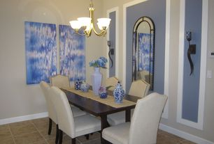 Contemporary Dining Room with Standard height, Pottery barn - calais chair, stone tile floors, sandstone tile floors, Paint