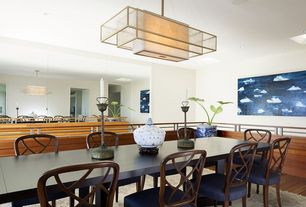 Contemporary Dining Room with High ceiling, flush light, can lights, Skylight, Laminate floors