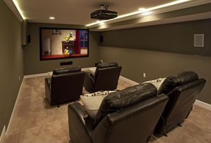 Contemporary Home Theater with Recessed soffit lighting, Bello home theater double arm recliner