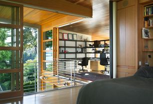 Modern Home Office with Metal railing, Wood panel ceiling, can lights, Natural light, Open concept, L-shaped desk, Area rug