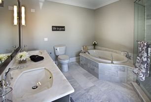 Traditional Master Bathroom with Undermount sink, Double sink, Master bathroom, frameless showerdoor, Simple marble counters