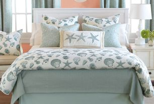 "Cottage Guest Bedroom with ARTERIORS Home Lola 31.5"" H Table Lamp with Drum Shade, Shoreline Seashells Bedding Collection"