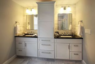Contemporary Master Bathroom with Double sink, specialty door, frameless showerdoor, Flat panel cabinets, Undermount sink