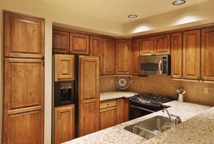 Contemporary Kitchen with Framed Partial Panel, full backsplash, Standard height, can lights, Multiple Sinks, gas range