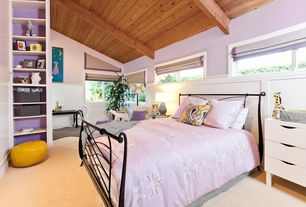 Contemporary Kids Bedroom with Built-in bookshelf, Carpet, Exposed beam, Wainscotting, Cathedral ceiling