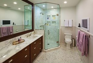 Traditional 3/4 Bathroom with Shower jets, Pental calacatta extra polished marble slab, Complex Marble, Undermount sink
