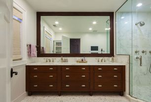 Traditional Master Bathroom with European Cabinets, Wainscotting, frameless showerdoor, Simple Marble, Handheld showerhead