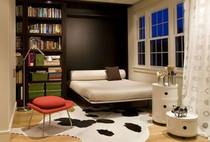 "Contemporary Guest Bedroom with Fold up wall bed, Metropolitan Murphy Bed, Kartell Componibili Round Tower - 23""H"