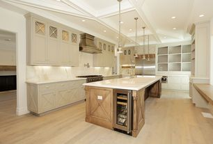 Traditional Kitchen with Farmhouse sink, Paint, Complex marble counters, Complex Marble, Pendant light, full backsplash