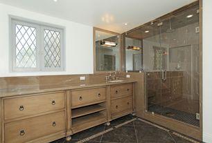Traditional Master Bathroom with Simple Marble, Standard height, stone tile floors, partial backsplash, frameless showerdoor
