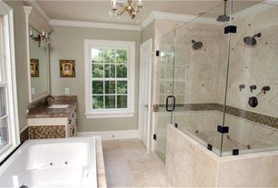 Traditional Master Bathroom with Savoy house - 3 light mini chandelier, frameless showerdoor, Undermount sink, Chandelier