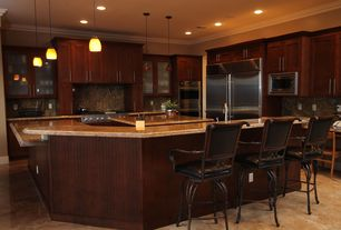 Contemporary Kitchen with Crown molding, Kitchen island, Venitian gold, Glass panel, Flat panel cabinets, Pendant light