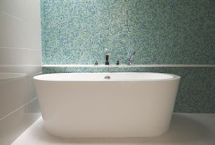 "Contemporary Master Bathroom with Daltile City Lights 1/2"" x 1/2"" Mosaic Blend Field Tile in South Beach, Freestanding"