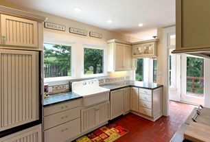 Cottage Kitchen with Portstone Acadian Brick Flooring, Dura supreme cabinetry bainbridge