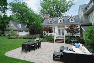 Traditional Patio with Pathway, Paint 2, Gate, Outdoor kitchen, Transom window, exterior interlocking pavers, French doors
