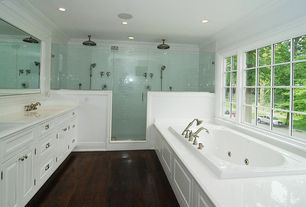 Traditional Master Bathroom with Raised panel, Flat panel cabinets, Signature hardware lambert rainfall nozzle shower head