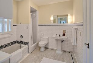 Traditional Full Bathroom with Daltile hexagon mosaic - keystones in arctic white, Bathtub, Paint 1, Pedestal sink, Full Bath