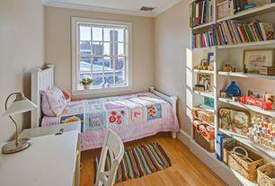Cottage Kids Bedroom with Built-in bookshelf, Pottery barn kids parker bed, Paint 1, Pottery barn kids parsons desk