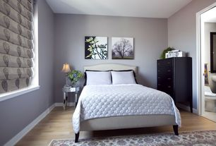 Contemporary Guest Bedroom with Nail Button Shantung Upholstered Headboard, Flat roman shade asherton  truffle, Paint 1