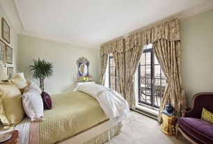Traditional Guest Bedroom with Standard height, Crown molding, Transom window, Carpet, French doors