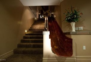 Eclectic Staircase with Crown molding, Stair lights, Carpet, Slide