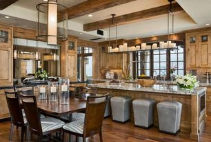 Kitchen with Exposed heavy timber beam, Restoration Hardware Quentin Pendant, Rustic luxury, Trey ceiling