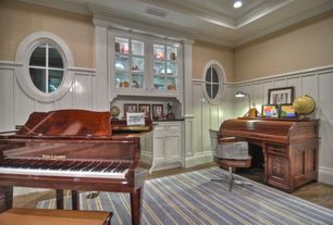Traditional Home Office with Hardwood floors, Home Dynamix Kidz Image Aquamarine Blue Stripe Area Rug