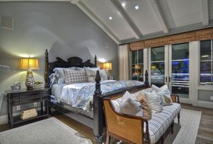 Traditional Master Bedroom with French doors, Hardwood floors, Jasper Hardwood - European Brushed Oak Collection - Sky Gray