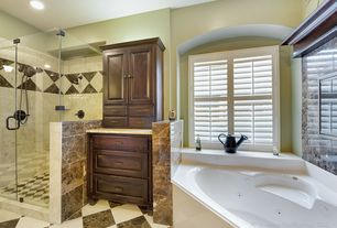 "Contemporary Master Bathroom with Arizona Tile, EMPERADOR DARK, Marble, Kohler 5454 54"" x 54"" drop-in bath, Raised panel"