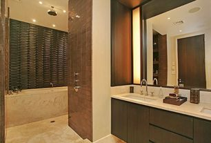 Contemporary Master Bathroom with shower bath combo, tiled wall showerbath, Concrete floors, can lights, partial backsplash